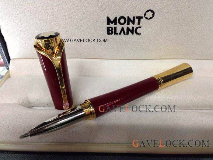 AAA Montblanc Princess Monaco Red & Gold Low Mont blanc Rollerball Pen Price